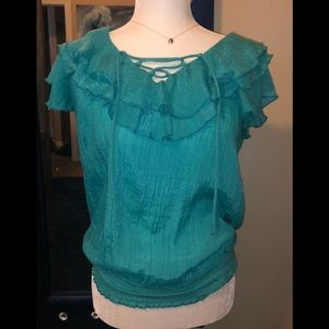 Beautiful ruffled neck teal  blouse